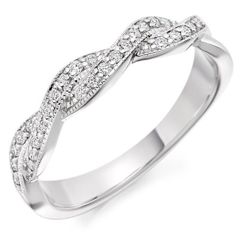Ring - Diamond set twist design band ring, 0.22ct  - PA Jewellery