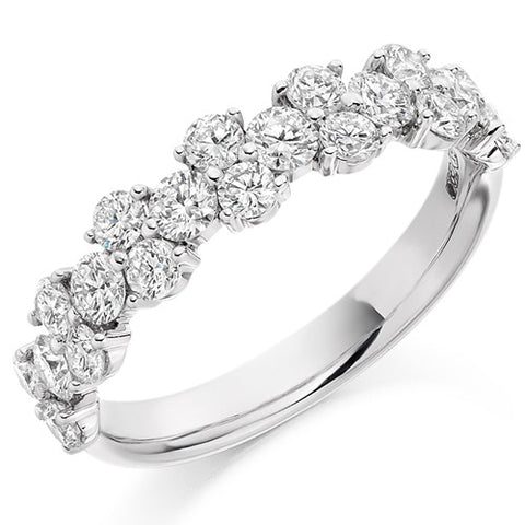 Ring - Round brilliant cut diamond claw set half eternity ring, 1.20ct  - PA Jewellery
