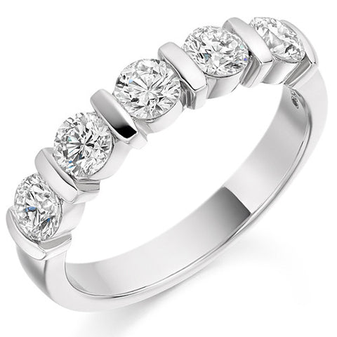 Ring - Round brilliant cut diamond half eternity ring, 1.00ct  - PA Jewellery