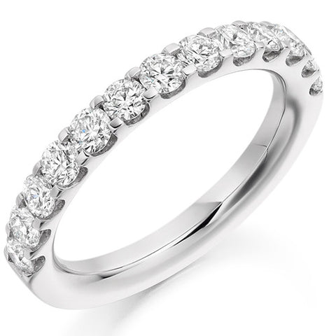 Ring - Round brilliant cut diamond micro claw set half eternity ring, 1.00ct  - PA Jewellery