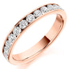 Ring - Round brilliant cut diamond channel set half eternity ring, 0.75ct  - PA Jewellery