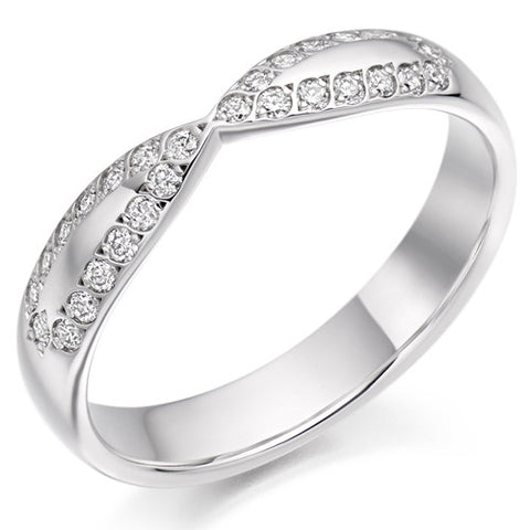 Ring - Diamond set bow shaped band ring, 0.25ct  - PA Jewellery