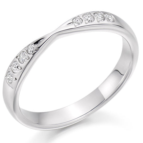 Ring - Diamond set bow shaped band ring, 0.15ct  - PA Jewellery
