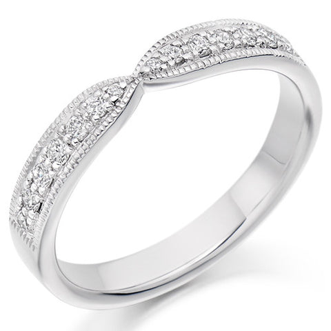 Ring - Diamond set bow shaped band ring, 0.20ct  - PA Jewellery