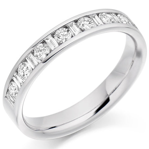 Ring - Round brilliant and baguette cut diamond channel set half eternity ring, 0.50ct  - PA Jewellery