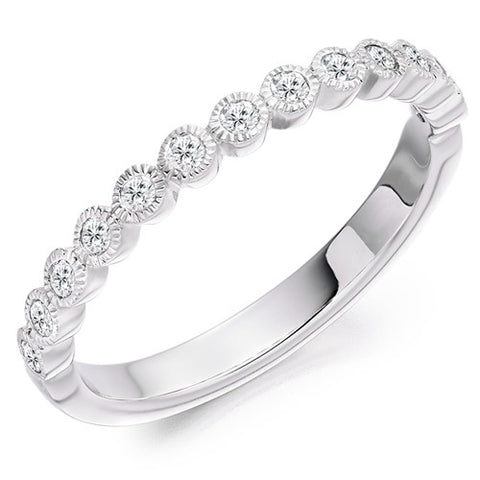 Ring - Round brilliant cut diamond half eternity ring, 0.25ct  - PA Jewellery