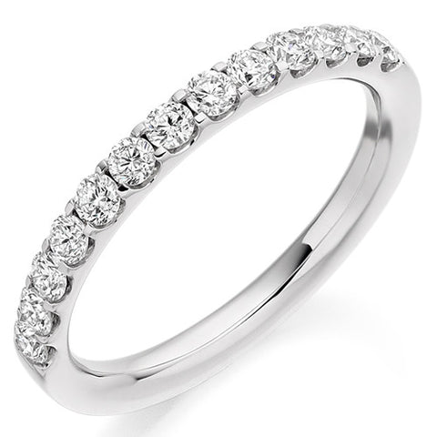 Ring - Round brilliant cut diamond micro claw set half eternity ring, 0.50ct  - PA Jewellery