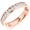 Ring - Round brilliant and baguette cut diamond channel set half eternity ring, 0.76ct  - PA Jewellery