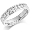 Ring - Round brilliant and baguette cut diamond channel set half eternity ring, 1.08ct  - PA Jewellery