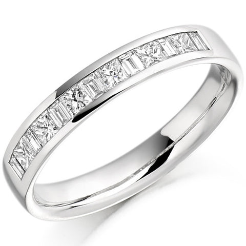 Ring - Princess and baguette cut diamond half eternity ring, 0.50ct  - PA Jewellery