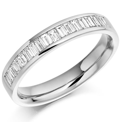 Ring - Baguette cut diamond channel set half eternity ring, 0.56ct  - PA Jewellery