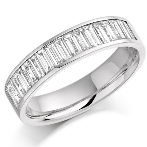 Ring - Baguette cut diamond channel set half eternity ring, 1.00ct  - PA Jewellery