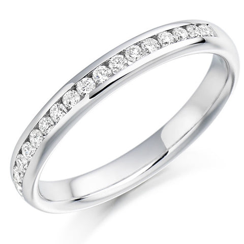 Ring - Round brilliant cut diamond channel set half eternity ring, 0.22ct  - PA Jewellery