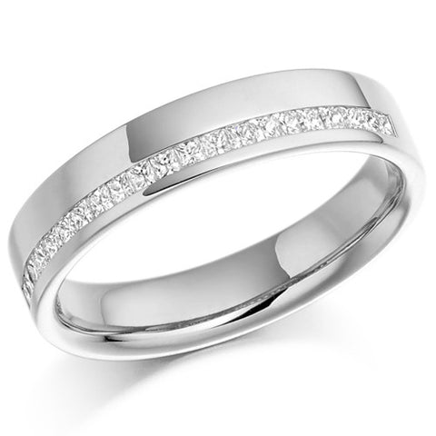 Ring - Princess cut diamond offset channel half eternity ring, 0.25ct  - PA Jewellery