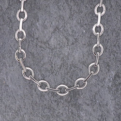 Oval and bar link collar in silver