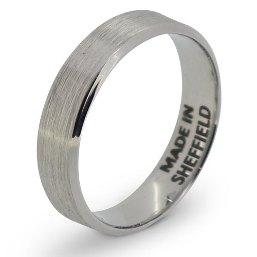 Brushed finish bevelled edge ring in Sheffield stainless steel