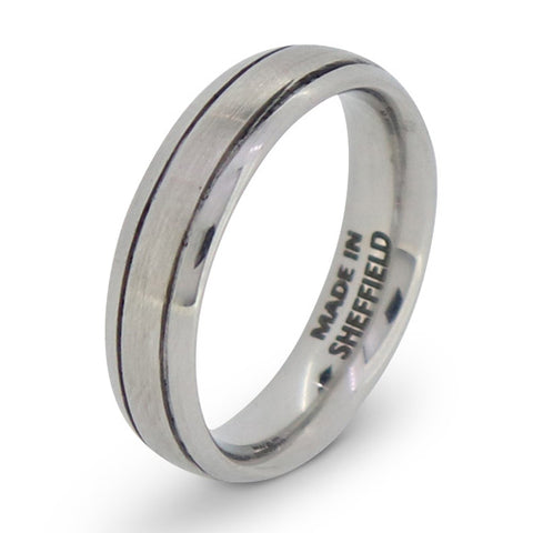 'The Endcliffe' double groove brushed finish band in Sheffield Steel