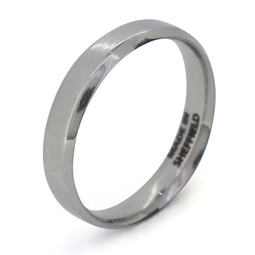 Bevelled edge polished band in Sheffield Steel