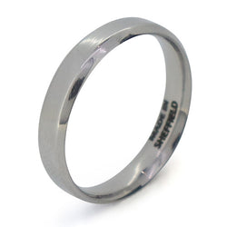 Bevelled edge polished band in steel