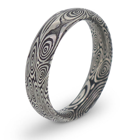 'Damascus' wood grain pattern court profile band in stainless steel