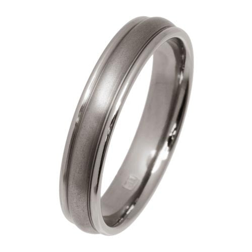 Ring - Ridged court shape 4mm band in titanium  - PA Jewellery