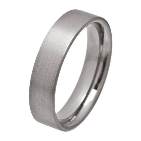 Ring - Flat court section 6mm band in titanium  - PA Jewellery