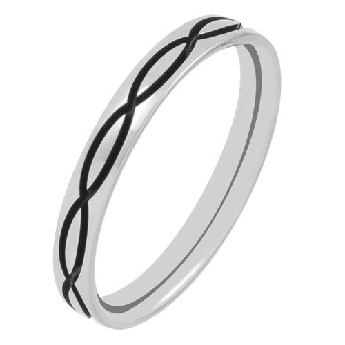 Ring - Double wave detail 3mm band in titanium  - PA Jewellery
