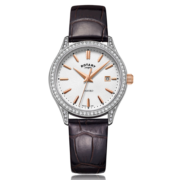 Ladies' Rotary Oxford in stainless steel on leather LS05092/02