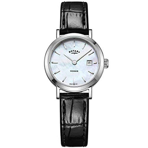 Ladies' Rotary Windsor in stainless steel on leather LS05300/41
