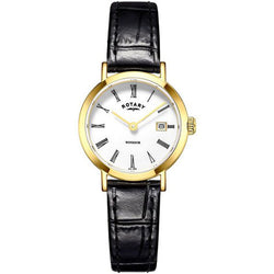 Watch - Ladies' Rotary Windsor in yellow PVD plated stainless steel on leather LS05303/01  - PA Jewellery