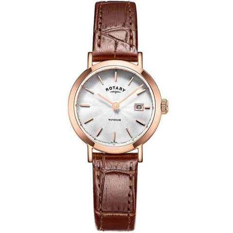 Watch - Ladies' Rotary Windsor in rose PVD plated stainless steel on leather LS05304/02  - PA Jewellery