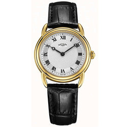 Ladies' Rotary Canterbury in yellow gold plated stainless steel on leather LS05338/21