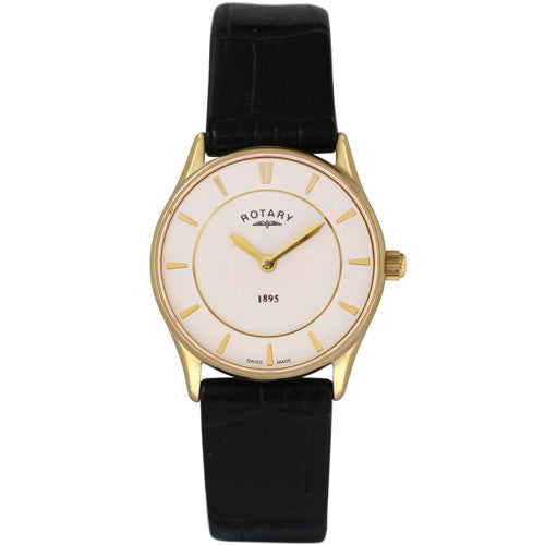 Watch - Ladies' Rotary Ultra Slim in yellow PVD plated stainless steel on leather LS08203/01  - PA Jewellery