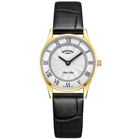 Ladies' Rotary Ultra Slim in yellow gold plated stainless steel on leather LS08303/01