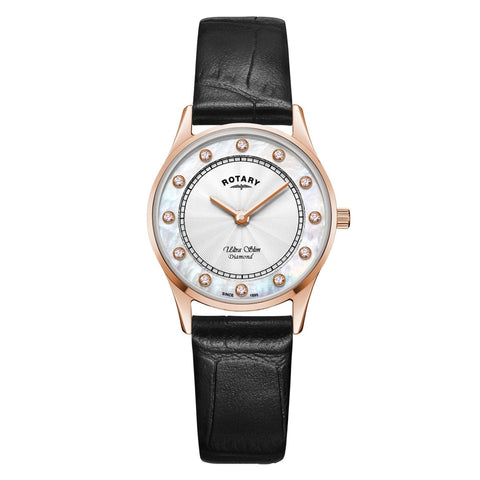 Ladies' Rotary Ultra Slim in rose PVD plated stainless steel on leather LS08304/41/D