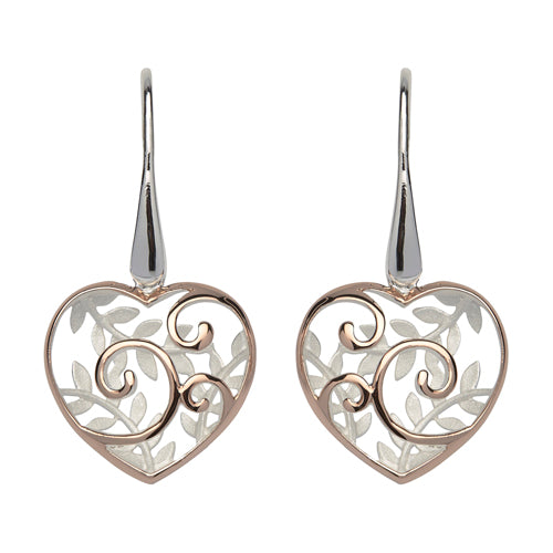 Leaf detail heart drop earrings in silver with rose gold-plating