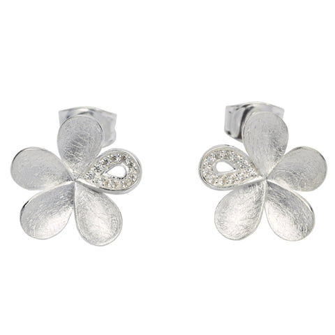Cubic zirconia flower stud earrings in silver