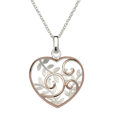 Leaf detail heart pendant and chain in silver with rose gold-plating