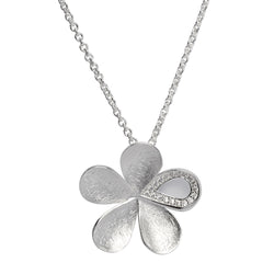 Cubic zirconia flower pendant and chain in silver