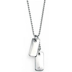 Diamond set child's dog tag pendant and chain in silver