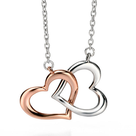 Neckwear - Double heart necklace in silver with rose gold plating  - PA Jewellery