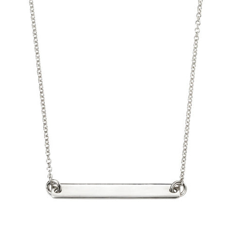 Engravable plaque necklace in silver