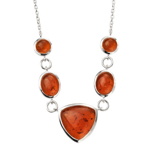 Pressed amber necklace in silver