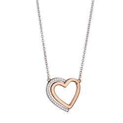 Cubic zirconia heart necklace in silver with rose gold plating
