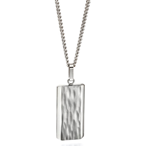 Textured detail pendant and chain in steel