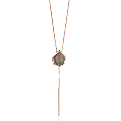 Black mother of pearl lariat style necklace in silver with rose gold plating