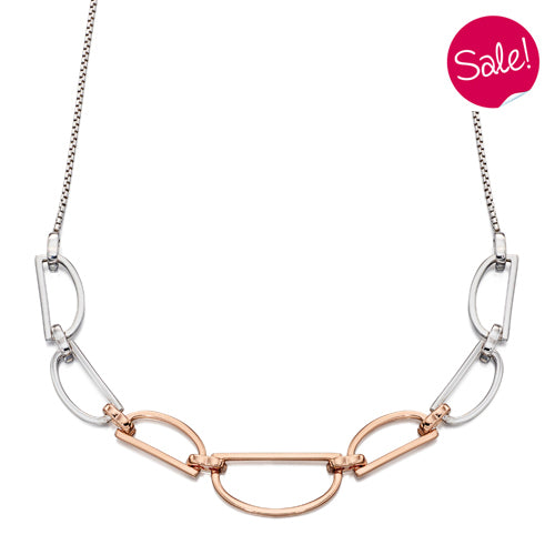 D-shape link necklace in silver with rose gold plating
