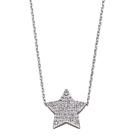 Cubic zirconia star necklace in silver