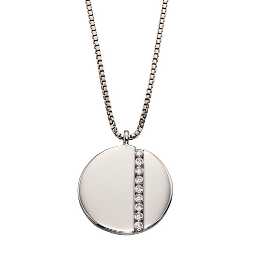 Cubic zirconia disc pendant and chain in silver