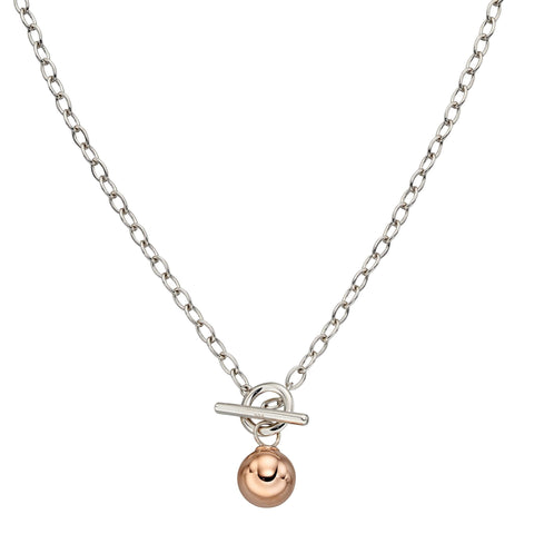 Toggle necklet with ball detail in silver with rose gold plating